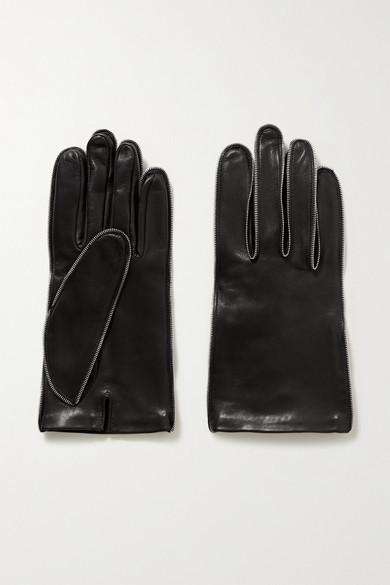 Alexander Wang Zip-embellished Glossed-leather Gloves - Black