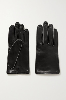 Alexander Wang Zip-embellished Glossed-leather Gloves - Black