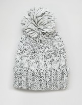 Asos Chunky Bobble Beanie In Black And White Twist