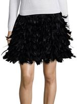 Alice + Olivia Cina Feathered Flared Mini Skirt