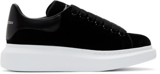 Alexander McQueen Black and White Velvet Oversized Sneakers