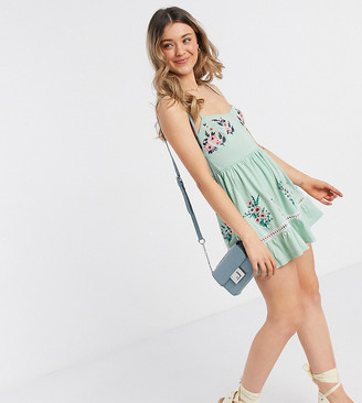 ASOS DESIGN Petite mini cami dress with embroidery detail in mint