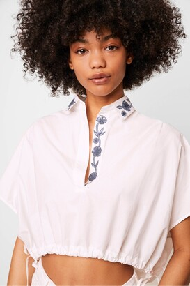 French Connection Zain Poplin Embroidered Cropped Popover Shirt