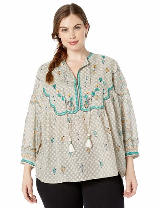 Lucky Brand Women's Plus Size Evelyn Embroidered Peasant TOP