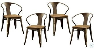 Williston Forge Emelia Metal Side Chair in Brown