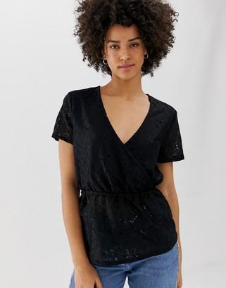 Pieces Julia lace wrap blouse