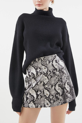 Urban Outfitters Siren Snake Print Button-Front Mini Skirt