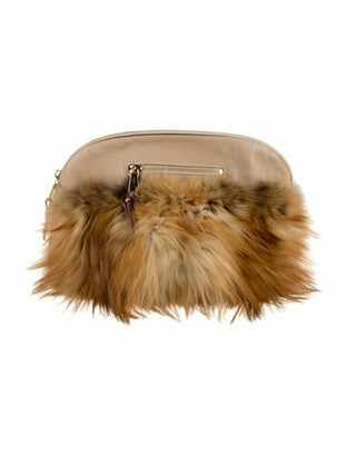 Chloé Angie Large Fur Clutch brown