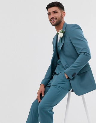 Asos Design DESIGN wedding slim suit jacket in mid blue