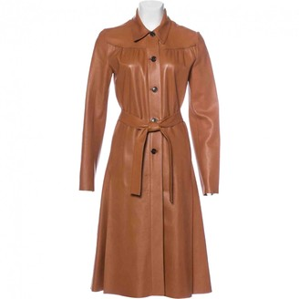 Prada Camel Leather Coat for Women