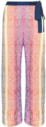 Mary Katrantzou Rego striped knit wide leg trousers
