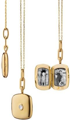 Monica Rich Kosann Yellow Gold Cushion Locket with Rose Cut Diamond