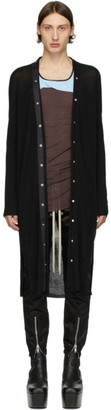 Rick Owens Black Wool Long Cardigan