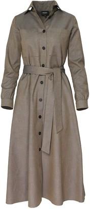 Bluzat Calf Length Structured Shirt Dress With Waist Tie