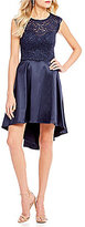 Sequin Hearts Sequin Heart Lace Bodice High-Low Dress