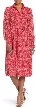 MelloDay Smocked Long Sleeve Pleated Shirt Dress (Petite)