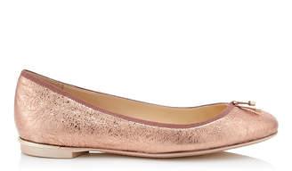 Jimmy Choo JENNIE FLAT Ballet Pink Crackled Foil Leather Round Toe Pumps