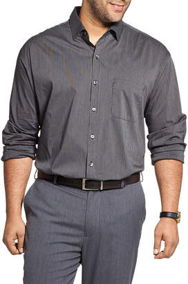 Van Heusen Big and Tall Mens Cowl Neck Short Sleeve Cooling Plaid Button-Front Shirt