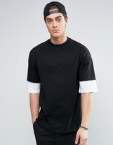 Asos Oversized T-Shirt With Contrast Layer Half Sleeve