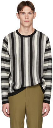 Paul Smith White and Black Virgin Wool Vertical Stripe Sweater