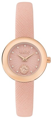 Versus By Versace Women's Lea Petite Pink Leather Strap Watch 28mm