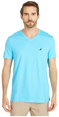 Nautica Short Sleeve V-Neck Tee (Black) Men's T Shirt