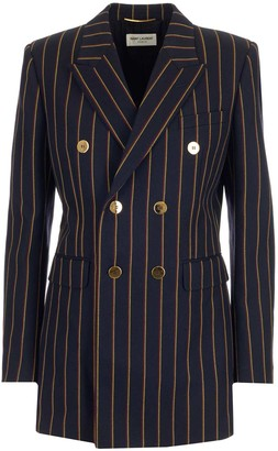 Saint Laurent Double Breasted Striped Jacket