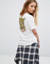RVCA Oversized Boyfriend T-Shirt With Illustrated Tiger Back Print