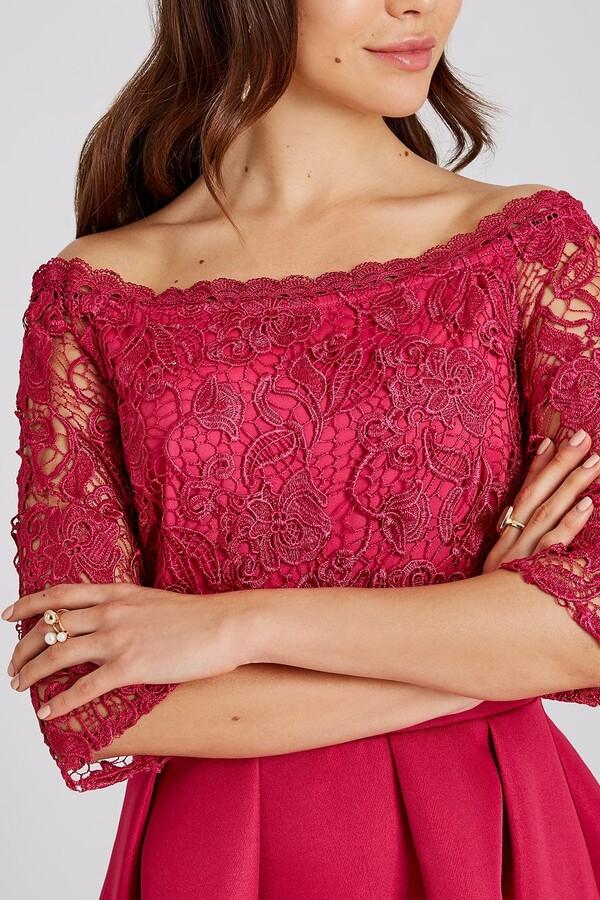 Thumbnail for your product : Little Mistress Frances Hot Pink Lace Bardot Skater Dress