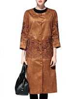 Tortor 1bacha Women Ladies Fashion Suede Long Trench Coat Overcoat
