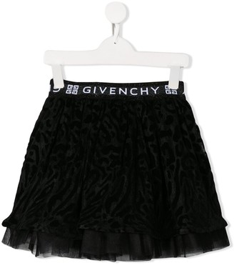 Givenchy Kids Pull-On Leopard Skirt