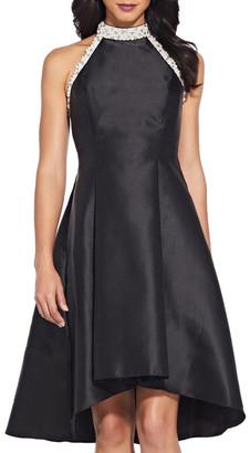 Adrianna Papell Beaded Hi Low Shoulder Dress