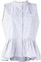 Sea pinstripe frill-trim blouse - women - Cotton - 2