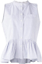 Sea pinstripe frill-trim blouse