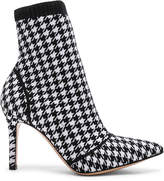 Gianvito Rossi Houndstooth Knit Ankle Boots in White & Black | FWRD