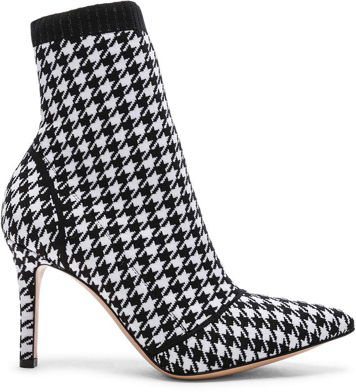 Gianvito Rossi Houndstooth Knit Ankle Boots in White & Black   FWRD