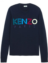 Kenzo Embroidered Wool Sweater - Midnight blue