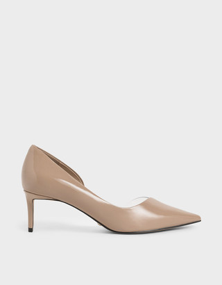 Charles & Keith Patent Leather Printed D'Orsay Pumps