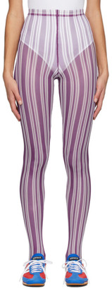 Chopova Lowena Purple Striped Leggings