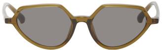 Dries Van Noten Green Linda Farrow Edition Angular Sunglasses