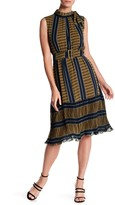 Gracia Belted Stripe & Pleated Hem Dress