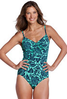 Lands' End Women's Regular DD-cup Beach Living Bardot Floral Scoopneck One Piece Swimsuit
