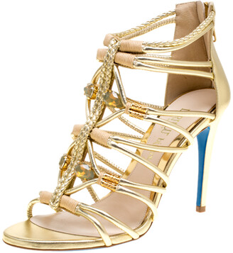 Loriblu Bijoux Metallic Gold Leather Crystal Embellished Strappy Sandals Size 37.5