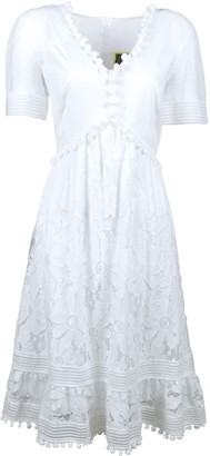 Lalipop Design White Embroidery Dress With Pompon Details
