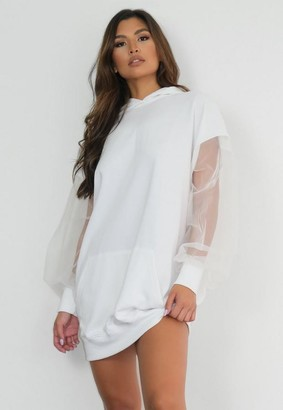 Missguided White Mesh Sleeve Oversized Hoodie Dress