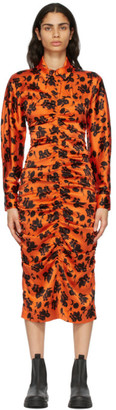 Ganni Orange and Black Silk Fitted Dress