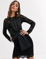 Asos Design DESIGN long sleeve lace waist satin bow detail mini dress