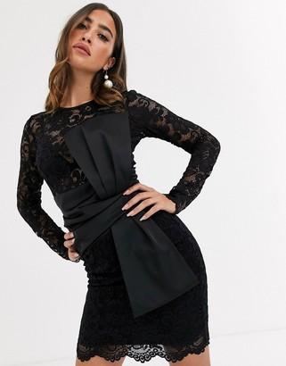 Asos Design DESIGN long sleeve lace waist satin bow detail mini dress-Black