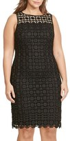Lauren Ralph Lauren Plus Size Women's Embroidered Lace Sheath Dress