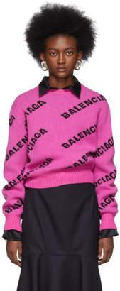 Balenciaga PInk All Over Logo Sweater